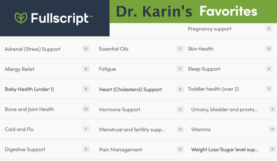 Fullscript - list of Dr. Karin's Favorite supplements