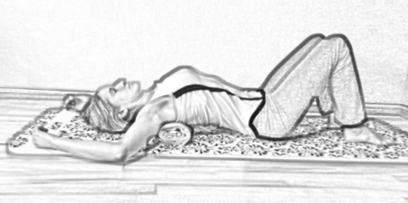 supine stretch for mid-back pain towel
